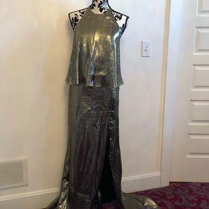 Halston Heritage Dresses - Halston Heritage gold metallic evening gown
